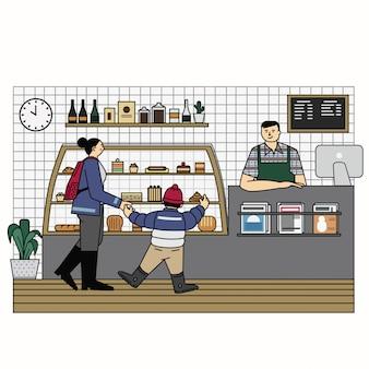 Пекарня магазин outline иллюстрация вектор