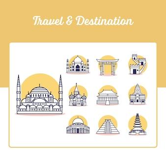 Набор иконок путешествия и назначения в стиле outline