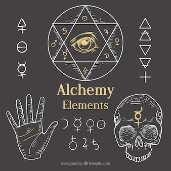 Outlined alchemy elements