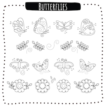 輪郭を描かれた蝶