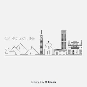 Outlined cairo skyline in black and white