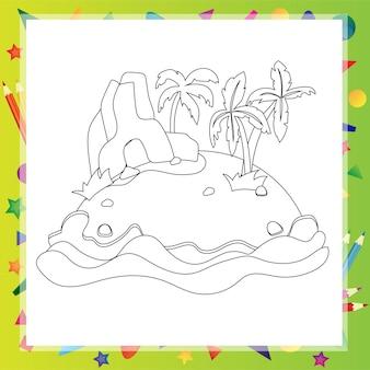 Обрисованный в общих чертах мультяшный остров с двумя пальмами и скалой - книжка-раскраска