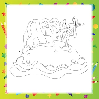 Outlined cartoon island with two palm tree and rock - coloring book