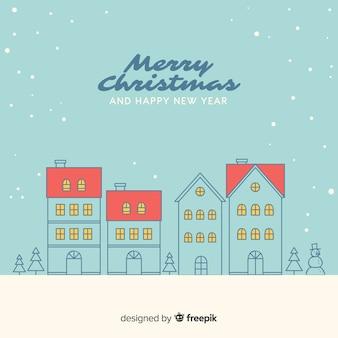囲まれたクリスマスタウンの背景