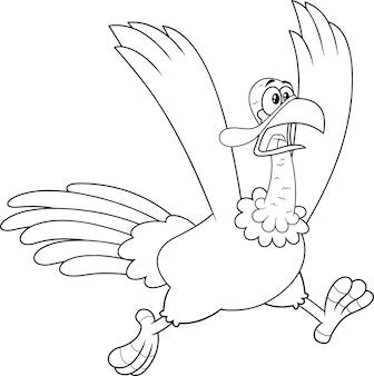 미친 터키 만화 캐릭터 실행 설명. 흰색 배경에 고립 된 그림