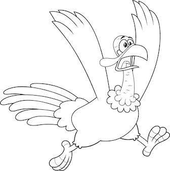 Outlined crazy turkey cartoon character running.  illustration isolated on white background