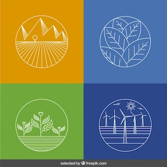 Outlined ecology icons collection