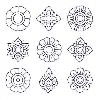 Outlined floral ornaments design