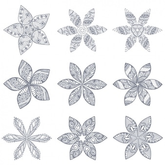 Outlined flowers collection