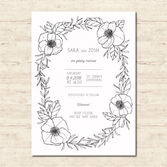 Outlined flowers wedding invitation