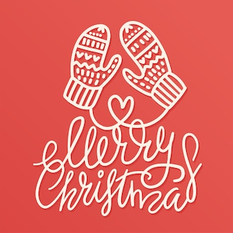 Outlined hand drawn christmas warm mittens with lettering qoute merry christmas.