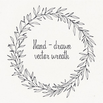 Outlined hand drawn wreath