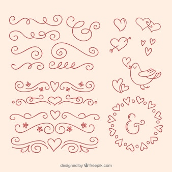 Outlined love ornaments