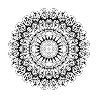 Outlined seamless mandala design, vintage decorative elements, hand drawn background vector