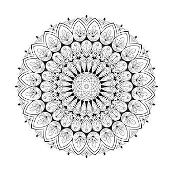Outlined seamless mandala pattern design. vintage decorative elements. hand drawn background vector