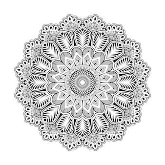 Outlined seamless mandala pattern,indian decorative art, hand drawn background premium vector
