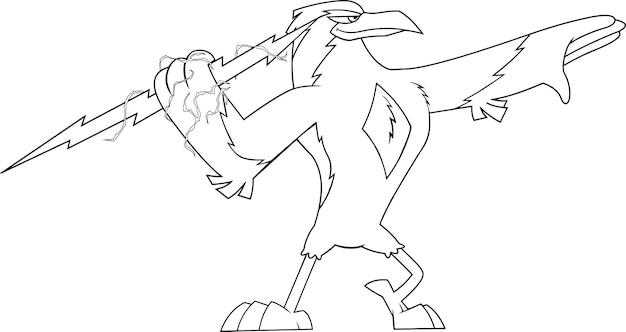 Outlined thunderbird bird cute cartoon character holding a big hunderbolt. illustration