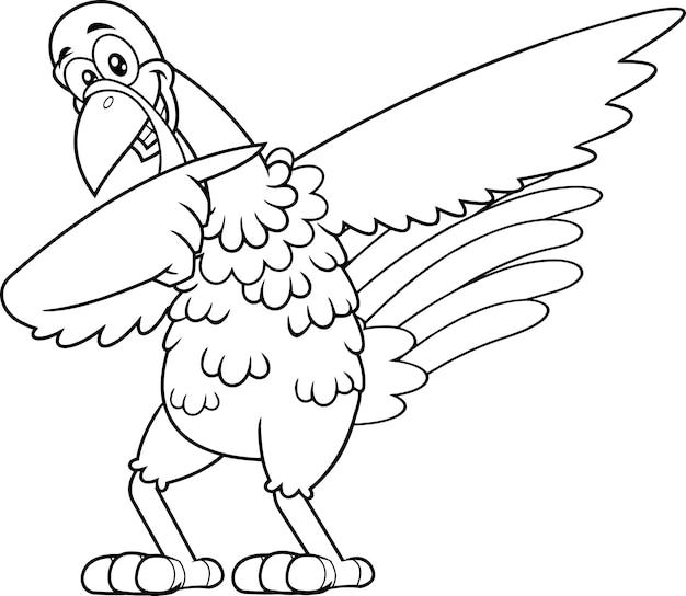 Outlined turkey bird cartoon character dabbing.  illustration isolated on white background