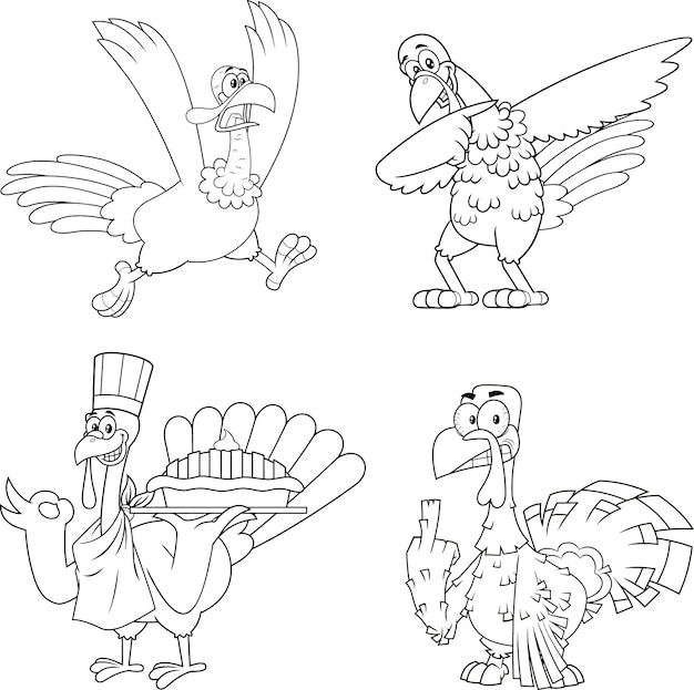 Outlined turkey bird cartoon mascot character set.  collection isolated on white background