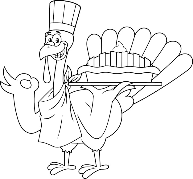 Outlined turkey chef cartoon character holding perfect pie.  illustration isolated on white background