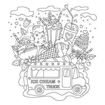 Изложил вектор каракули антистресс раскраски страницы книги мороженого грузовик для взрослых и детей