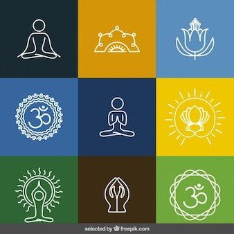 Outlined yoga icons collection