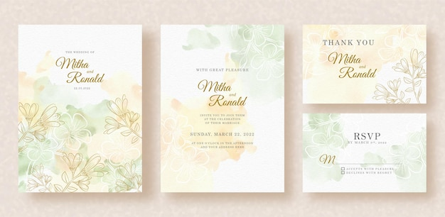 Outlines of florals and splash watercolor on wedding invitation background
