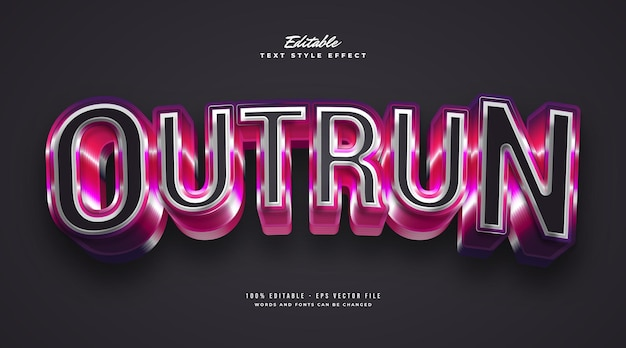Outrun text in colorful retro style with 3d bold effect. editable text style effect