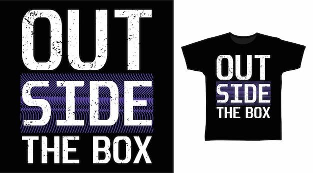 상자 타이포그래피 티셔츠 디자인 외부