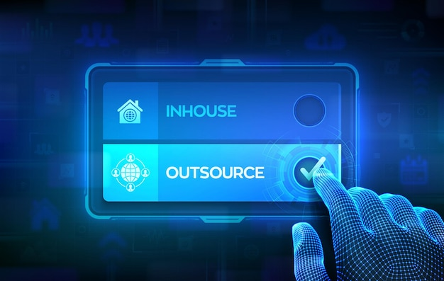 Outsource or inhouse choice concept