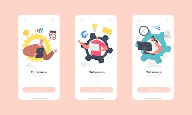 モバイルアプリページのオンボード画面テンプレートをアウトソーシングします。グローバルアウトソーシングチーム、ガジェットを持ったビジネスマン、ネットワークコンセプトで遠く離れて働くキャラクター。漫画の人々のベクトル図