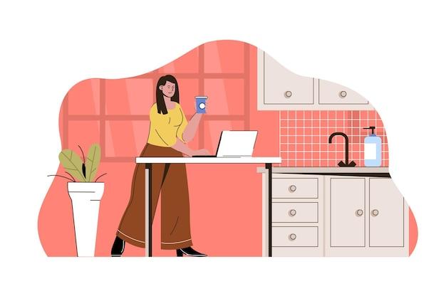 집의 부엌에서 일하는 아웃소싱 작업 개념 여성 원격 작업자