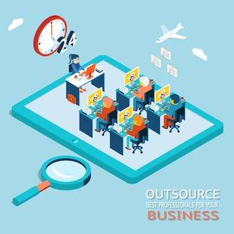 Outsourcing the best professionals for business advice, counseling. global work marketplace in web. office with people working at the computer
