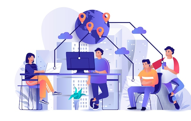 Outsourcing company flat design concept illustration of people characters