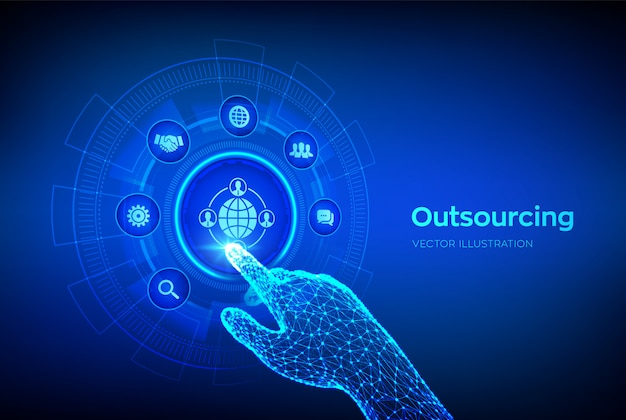 Outsourcing and hr. global recruitment business and internet concept on virtual screen. robotic hand touching digital interface.