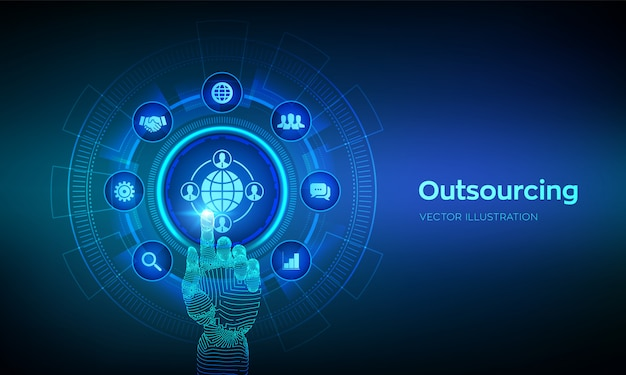 Outsourcing and hr. social network and global recruitment. global recruitment business and internet  on virtual screen. robotic hand touching digital interface.  illustration.