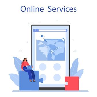 온라인 서비스 또는 플랫폼을 아웃소싱합니다. 팀워크 및 프로젝트 위임에 대한 아이디어. 회사 개발 및 비즈니스 전략.