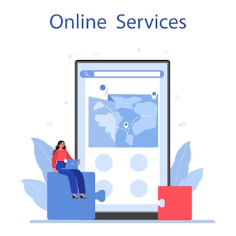 Outsourcing online service or platform. idea of teamwork and project delegation. company development and business strategy.