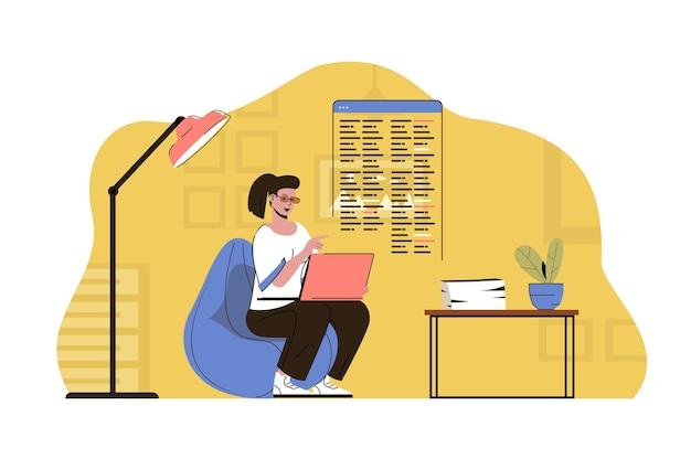 아웃소싱 서비스 개념 여성 직원은 원격 사무실에서 작업을 수행합니다.