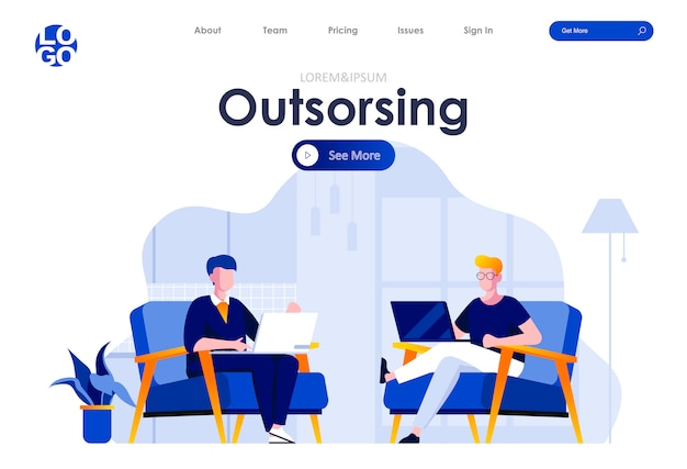 Outsourcing service flat landing page design web template