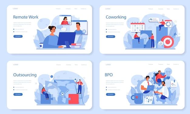 아웃소싱 웹 레이아웃 또는 랜딩 페이지 세트. 팀워크 및 프로젝트 위임에 대한 아이디어. 회사 개발 및 비즈니스 전략.
