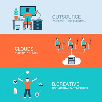 Outsourcing work in cloud data storage be creative flat concepts illustrations set.