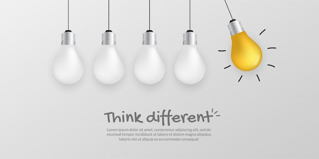 Outstanding gold light bulb  , think different business concept