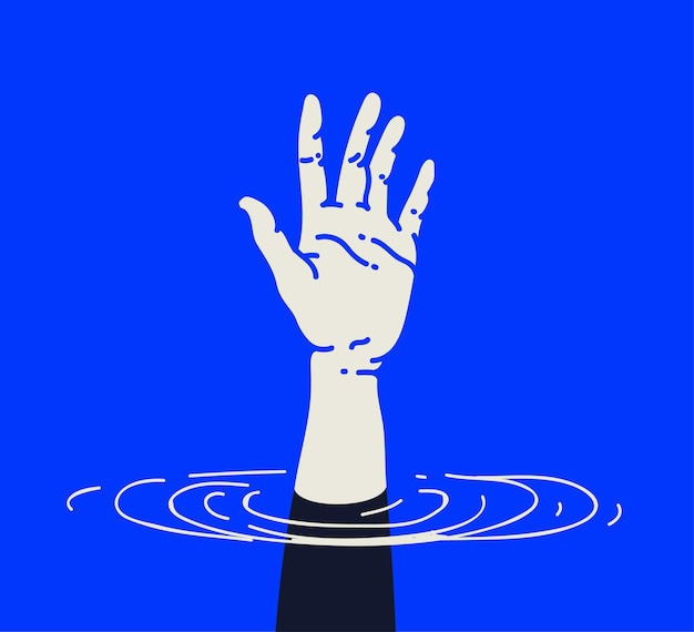 Outstretched drowning human hand in need of urgent help or support crisis concept