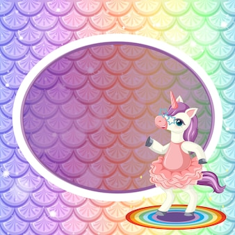 Oval banner frame template on pastel rainbow fish scales with cute unicorn cartoon character