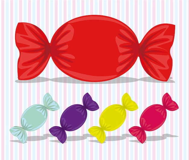 Oval candy assorted colors vector illustration
