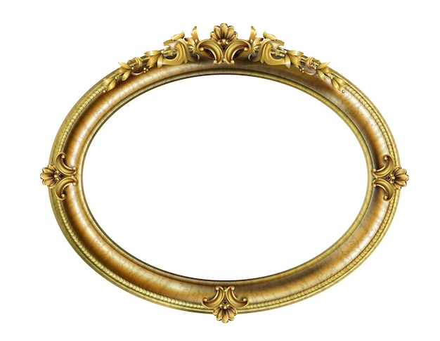 Oval classic golden frame