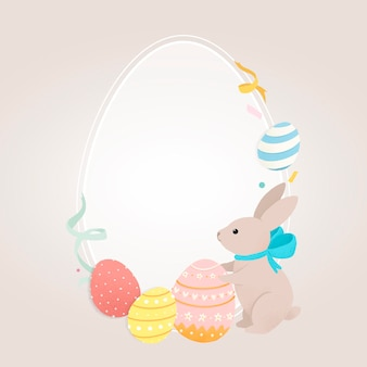 Овальная пасхальная рамка с кроликом и яйцами