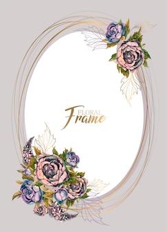 꽃의 부케와 함께 타원형 축제 프레임