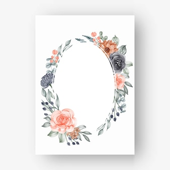 Cornice floreale ovale con fiori ad acquerello blu navy e pesca